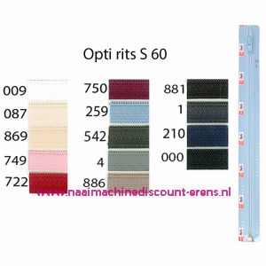 Opti rits S60 45cm deelb (stk) / 001.4802.45