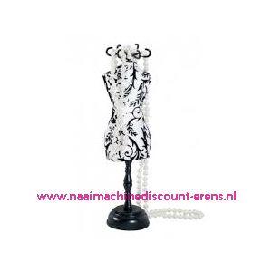010191 / Speldenkussen pasvorm Polka wit/zwart bloem art. nr. 610310
