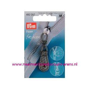 010476 / Fashion Zipper leder imitatie grijs geblokt