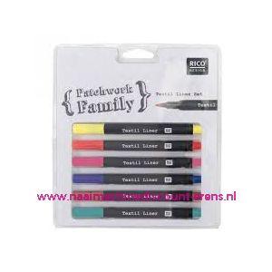 Textielstiften Dun 6 kleuren art. nr. 500050.121 - 10792