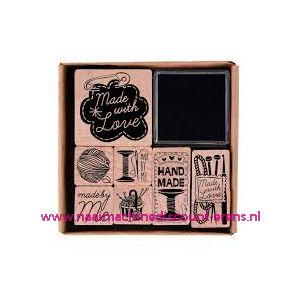 Stempelserie hout met inkt 7 soorten - 10795