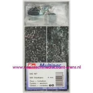 Ringen met Schijven 4 mm 500 stuks Zwart Prym art.nr. 542487