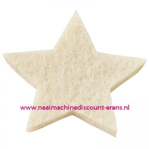 Vilt sterren dicht art. 3437510 creme 3 Cm 12 Stuks - 12060