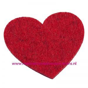 Vilten hartjes 5,5 x 6 Cm rood mêleerd art. 3437326 4 Stuks - 12095