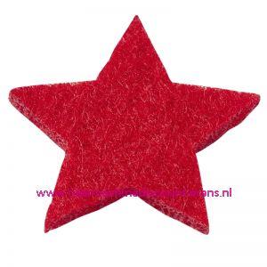 Vilt sterren dicht art. 3437513 rood 3 Cm 12 stuks - 12184
