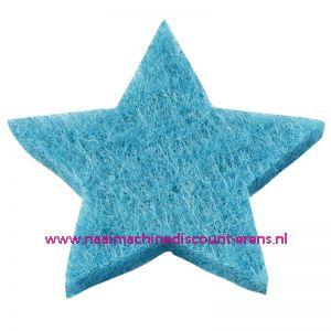 Vilt sterren dicht art. 3437514 aqua blauw 3 Cm 12 stuks - 12185
