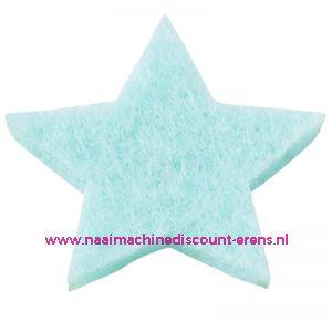 Vilt sterren dicht art. 3437515 licht blauw 3 Cm 12 stuks - 12186
