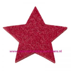 Vilt sterren dicht art. 3437551 bordeaux 3 Cm 12 stuks - 12187