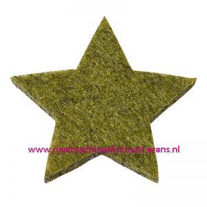 Vilt sterren dicht art. 3437552 groen mêleerd 3 Cm 12 stuks - 12189