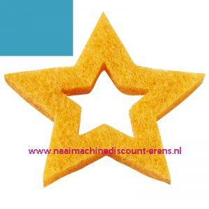 Vilt sterren open 3437524 aqua blauw 3 Cm 12 stuks - 12195