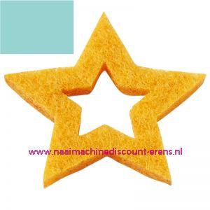 Vilt sterren open 3437525 licht blauw 3 Cm 12 stuks - 12196