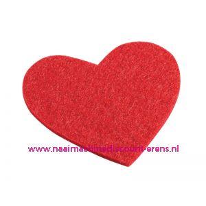 Vilten hartjes 5,5 x 6 Cm rood art. 3437330 4 stuks - 12209