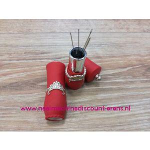 012332 / Draaibare naaldenverdeler op kussen kleur rood