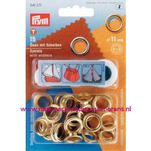 Ringen met Schijven 11 Mm 15 stuks Goudkleurig Prym art.nr. 541371