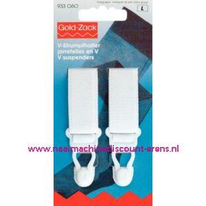 001568 / V-Jarretel Veloursband Kst 20 Mm Wit Goldzack art. nr.933060