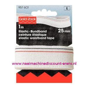 001593 / Taille-Elastiekband Dubbele Boord 25 Mm Wit art. nr. 957601