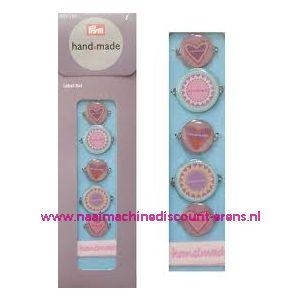 Handmade label set kleur blauw / bont prym art. nr. 403782 - 2265