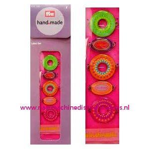 002349 / Handmade label set kleur roze / bont prym art. nr. 403780