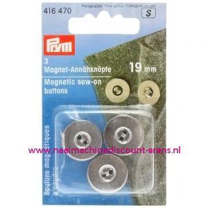 """Magneetknopen 19 Mm 3 stuks """"Zilver"""" prym art.nr. 416470"""
