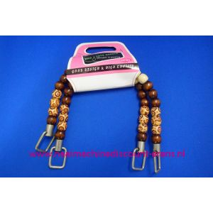 006034 / Handvat voor Handtas gekleurde houten kralen 35 Cm