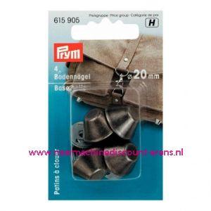 "Bodemnagels tassen ""zwart zilver"" 20 Mm 4 stuks prym art.nr. 615905"