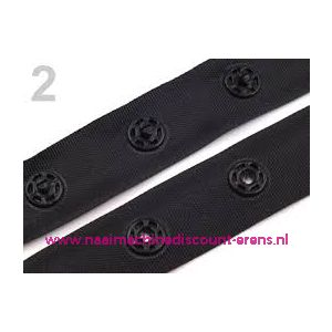 Snap Tape - drukknopen band aan de meter zwart