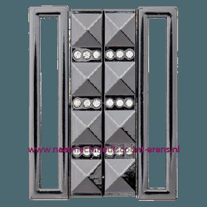 "Metalen Gesp ""Zwart - Zilver"" met strass stenen 50 Mm Union Knopf art.nr. 501001"