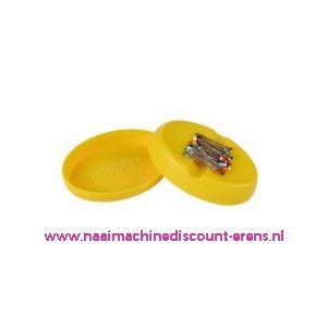 Babysnap magneetspeldenkussen geel incl. deksel en kopspelden