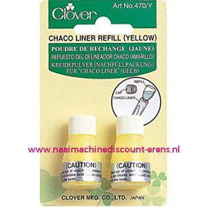 Clover navulling voor Chaco Liner Pen / Rokkenspuit geel art. nr. 470/Y