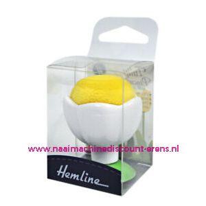 Hemline speldenkussen met zuignap voor op naaimachine geel