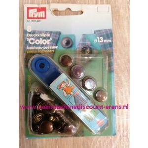 Naaivrijdrukknopen Color Ms Bruin 13 Mm  8 Stuks Prym art.nr. 390422