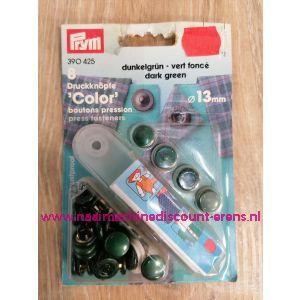 Naaivrijdrukknopen Color Ms Groen donker 13 Mm  8 Stuks Prym art.nr. 390425