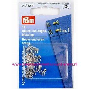 Haken & Ogen no.1 12 stuks Zilverkleurig prym art.nr. 263844