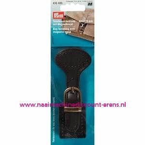 """Tassluiting met Magneetknoop """"bruin"""" leer met gesp prym art.nr. 416485"""