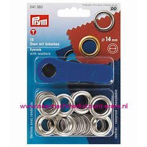 Ringen met Schijven 14 Mm 10 stuks Zilverkleurig Prym art.nr. 541383