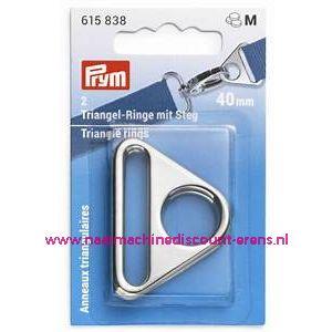 """Driehoekringen met een gleuf 40 Mm """"Zilver"""" 2 stuks prym art.nr. 615838"""