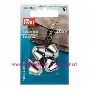 "Bodemnagels tassen ""zilver"" 20 Mm 4 stuks prym art.nr. 615903"