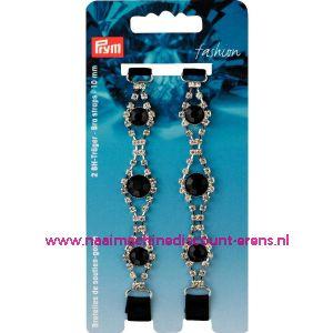BH-schouderband luxe  strass met zwarte steen rond 10 Mm prym art. nr. 991936