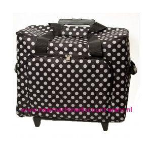 Mobiele koffer polkadot dessin zwart art. nr. 4680-340017
