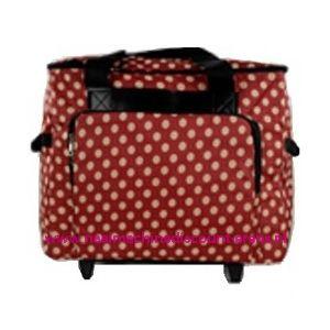 Mobiele koffer polkadot dessin rood art. nr. 4680-340015