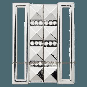 "Metalen Gesp ""Zilver"" met strass stenen 50 Mm Union Knopf art.nr. 501001"
