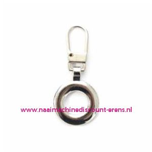 """Modische Schuiver """"metaal zilver rond 40mm"""" UNION KNOPF art.nr. 500786"""